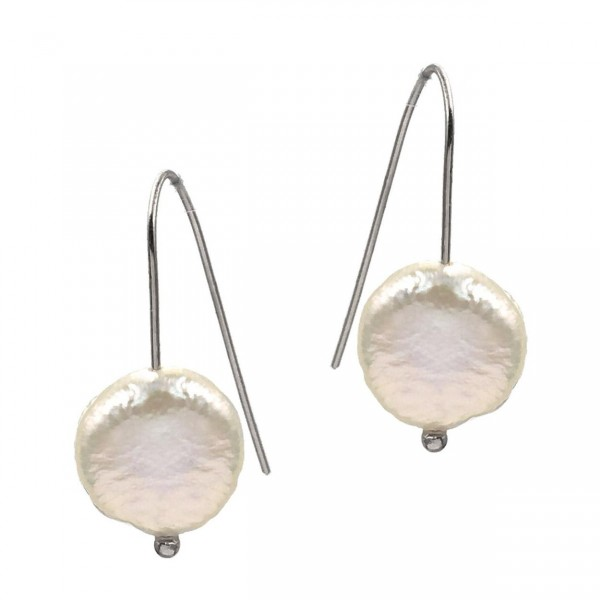 """Silver Wire Earrings Featuring Faux Pearl Accents.   - Approximately 1.5"""" Long"""