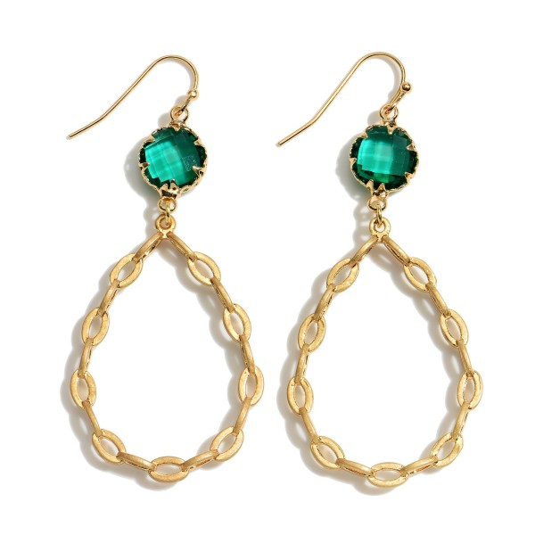 "Chain Link Crystal Teardrop Earrings in Gold.  - Approximately 2.25"" in Length"