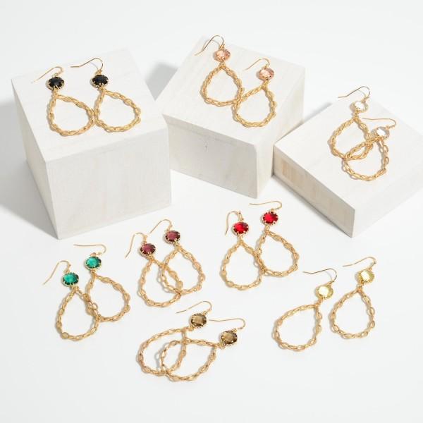 "Chain Link Crystal Teardrop Earrings in Gold.  - Approximately 2.25"" in Length"