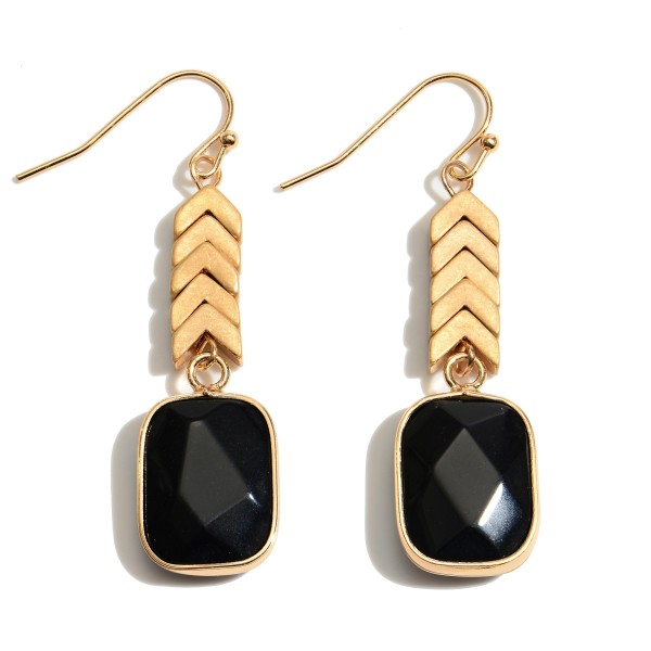 "Semi Precious Arrow Drop Earrings in Gold.  - Approximately 1.75"" in Length"