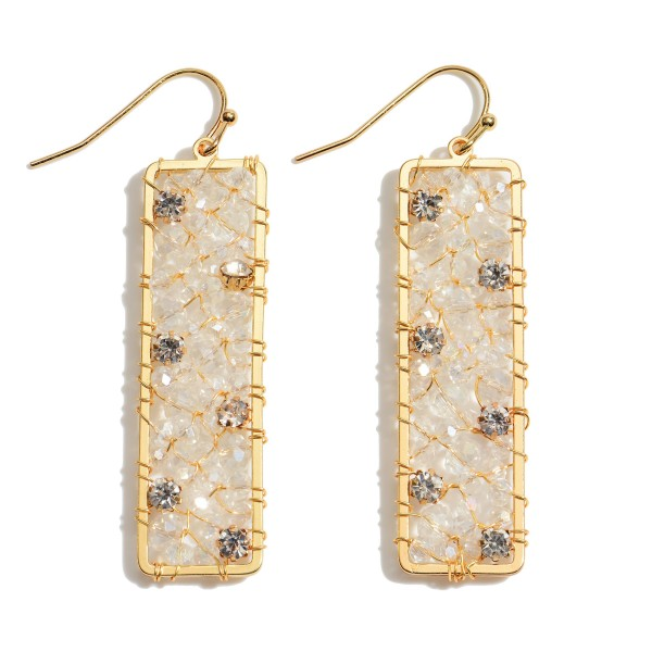 """Wire Beaded Bar Drop Earrings Featuring Rhinestone Accents.  - Approximately 2"""" in Length"""