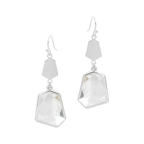 "Metal Drop Earrings Featuring Clear Crystal Accents.   - Approximately 2"" Long"