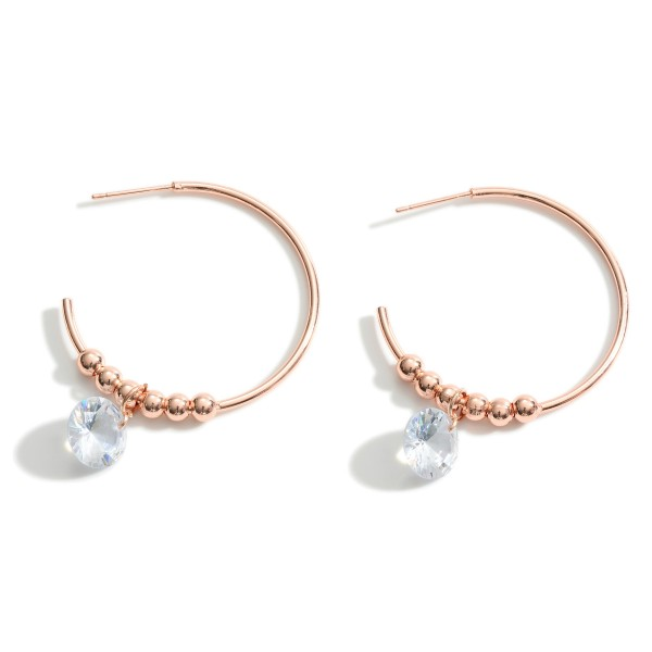 "Metal Hoop Earrings Featuring Cubic Zirconia Accents and Beaded Details.   - Approximately 1.5"" in Diameter"