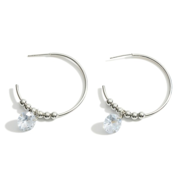 """Metal Hoop Earrings Featuring Cubic Zirconia Accents and Beaded Details.   - Approximately 1.5"""" in Diameter"""