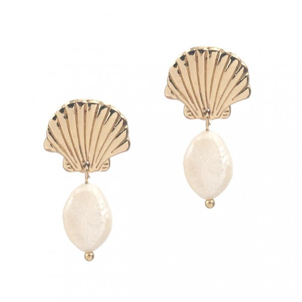 """Metal Seashell Earrings Featuring Faux Pearl Accents.   - Approximately 1"""" Long"""
