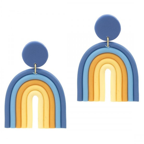 "Multicolor Rainbow Drop Earrings.   - Approximately 2.5"" Long"