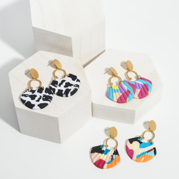 """Polymer Clay Drop Earrings.   - Approximately 2.25"""" Long"""