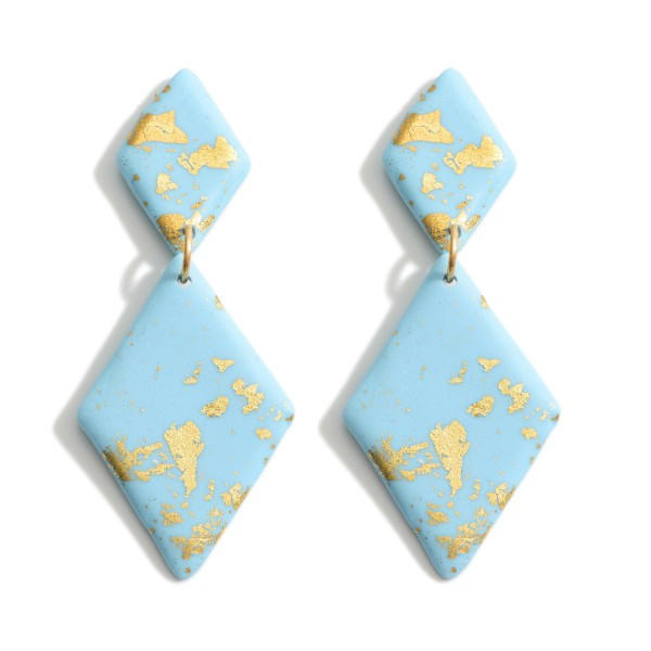 """Diamond Shaped Polymer Clay Earrings Featuring Gold Accents.   - Approximately 3"""" Long"""