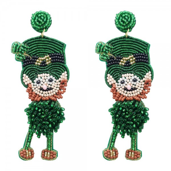 "Beaded Leprechaun Earrings.   - Approximately 3"" in Length"