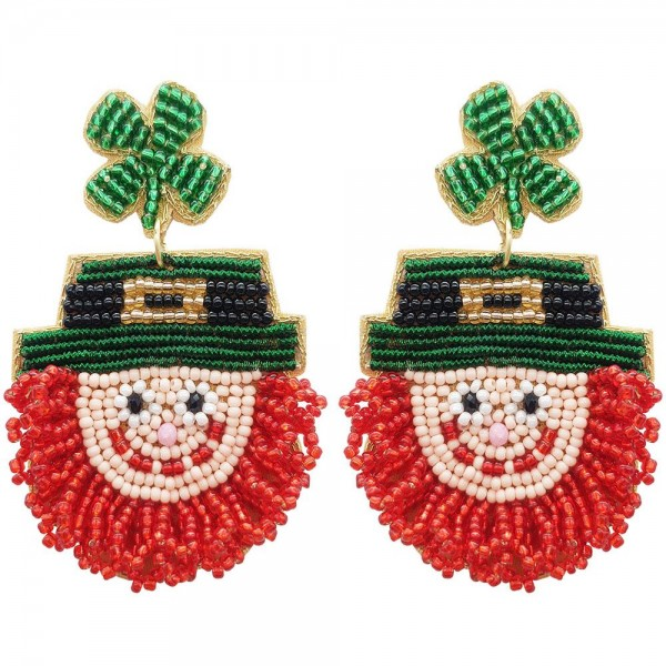 "Beaded Leprechaun Earrings Featuring Shamrock Details.   - Approximately 3"" in Length"
