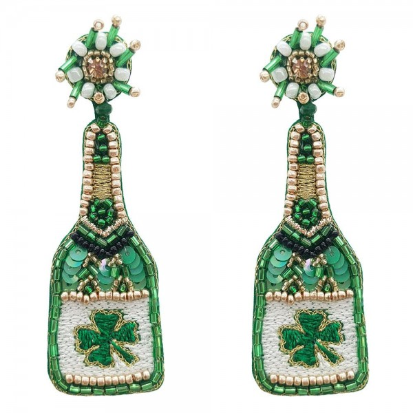"Beaded St. Patrick's Day Themed Champagne Bottle Earrings.   - Approximately 3.5"" in Length"