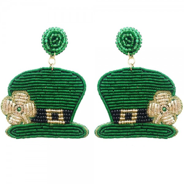 Wholesale beaded Leprechaun Hat Earrings