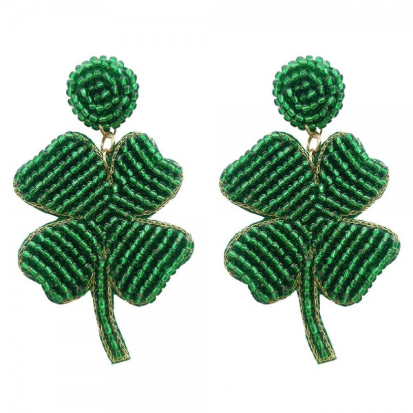 "Beaded Shamrock Earrings.   - Approximately 2.5"" in Length"