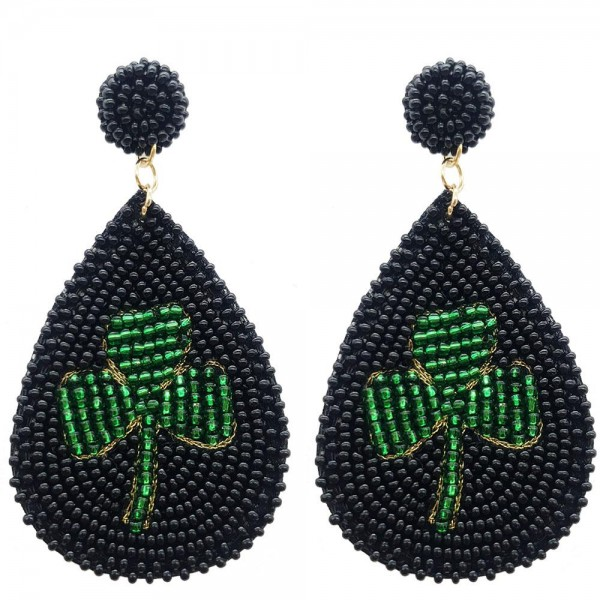 "Beaded Tear Drop Shamrock Earrings.   - Approximately 3"" in Length"