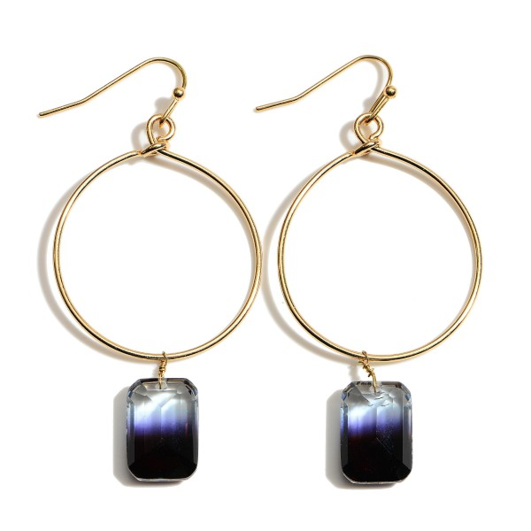 """Ombre Crystal Square Drop Earrings in Gold.  - Approximately 2.5"""" in Length"""
