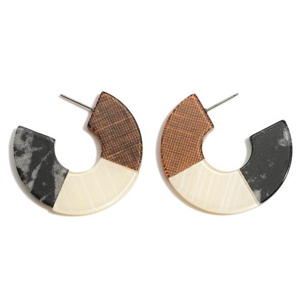 """Multi Resin Hoop Earrings.  - Approximately 1.5"""" in Diameter"""
