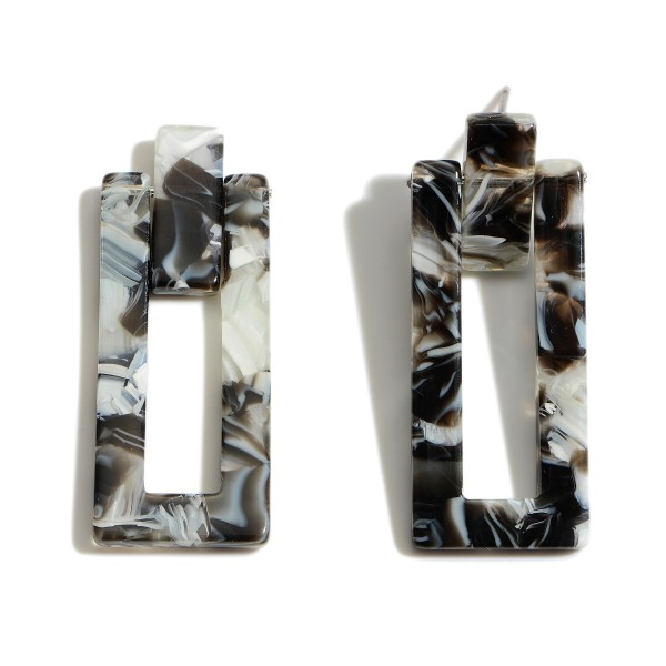 """Resin Rectangle Drop Earrings.  - Approximately 1.5"""" in Length"""