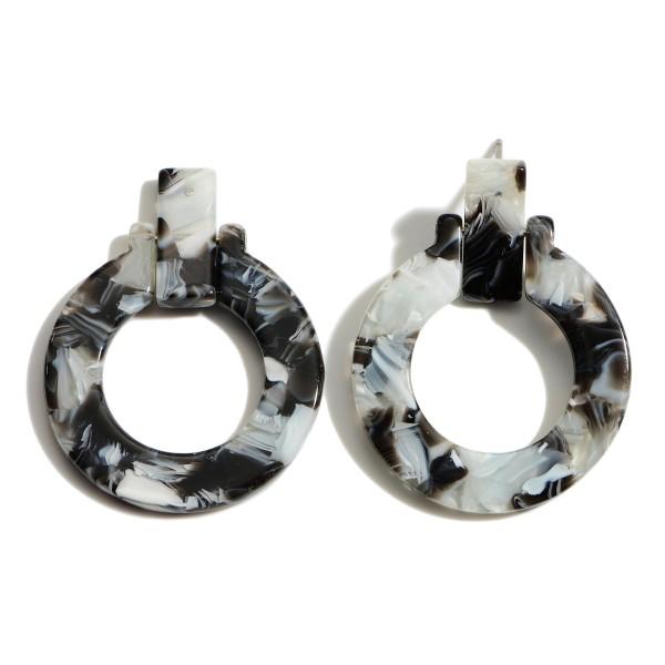 "Resin Ring Drop Earrings.  - Approximately 1"" in Diameter"