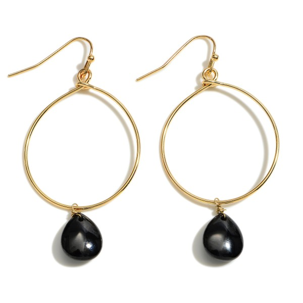 """Cubic Zirconia Teardrop Drop Earrings in Gold.  - Approximately 2"""" in Length"""