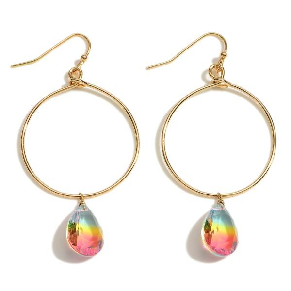 "Ombre Crystal Teardrop Drop Earrings in Gold.  - Approximately 2.25"" in Length"