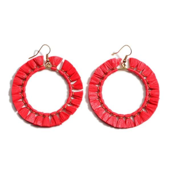 """Raffia Tassel Drop Earrings.  - Approximately 2"""" in Diameter"""