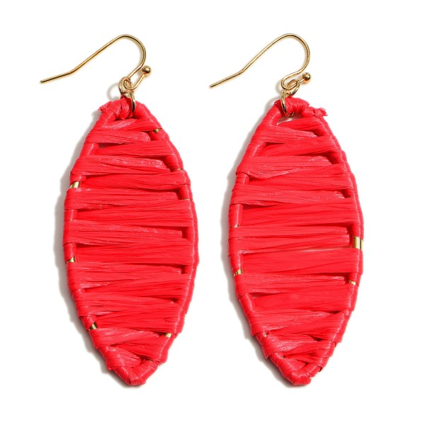 """Raffia Wrapped Pointed Drop Earrings.  - Approximately 2.5"""" in Length"""