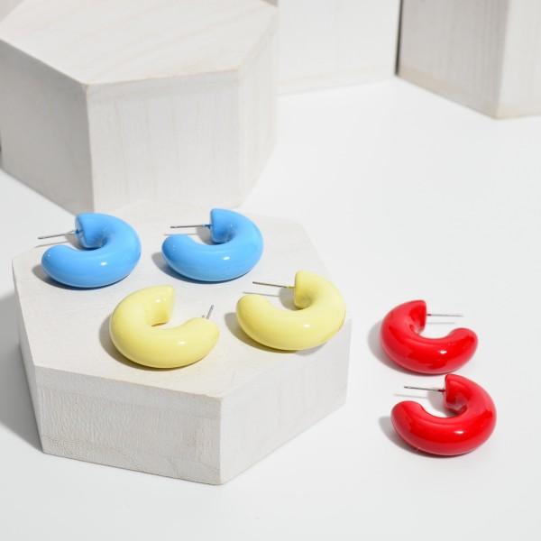 """Thick Coated Hoop Earrings.  - Hoop Thickness 10mm in Diameter - Approximately 1"""" in Hoop Diameter"""