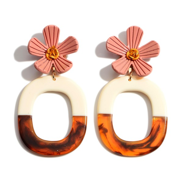 """Two Tone Peach Resin Flower Statement Drop Earrings.  - Approximately 1.25"""" in Flower Diameter - Approximately 3.5"""" in Length"""