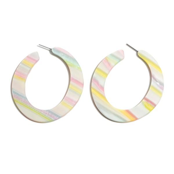 """Multicolor Flat Resin Hoop Earrings.  - Approximately 2.5"""" in Diameter"""