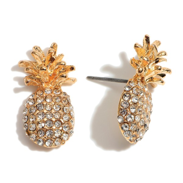 """Pave Pineapple Stud Earrings.  - Approximately .75"""" in Size"""