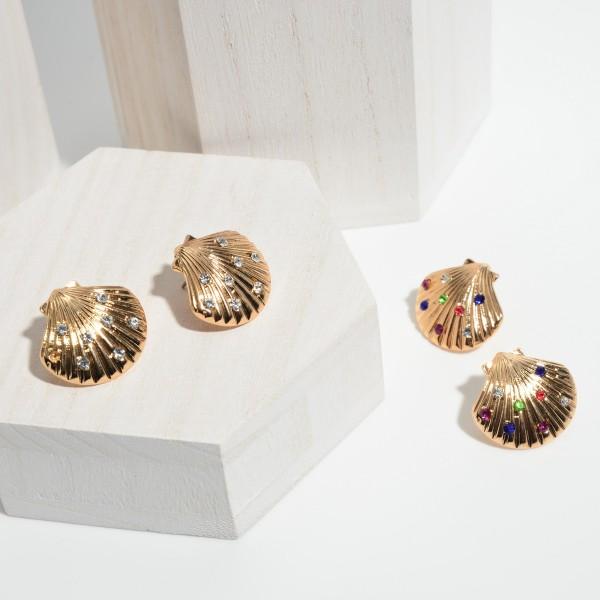 """Rhinestone Seashell Stud Earrings in Gold.  - Approximately 1"""" in Size"""