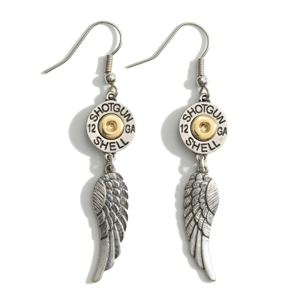 """Metal Drop Earrings Featuring Angel Wings and Mixed Metal Shotgun Shells.   - Approximately 2.5"""" in Length"""