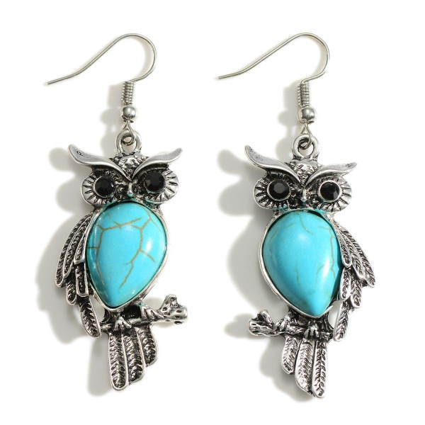 """Owl Themed Silver Drop Earrings Featuring Black Onyx & Turquoise Inspired Accents.   - Approximately 2.5"""" in Length"""