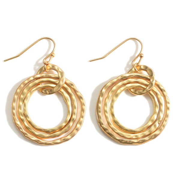 """Circular Metal Earrings Featuring a Hammered Texture.   - Approximately 1.5"""" in Length"""