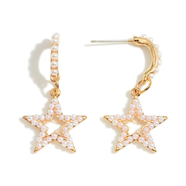 """Star Drop Earrings Featuring Faux Pearl Accents.   - Approximately 1"""" in Length"""