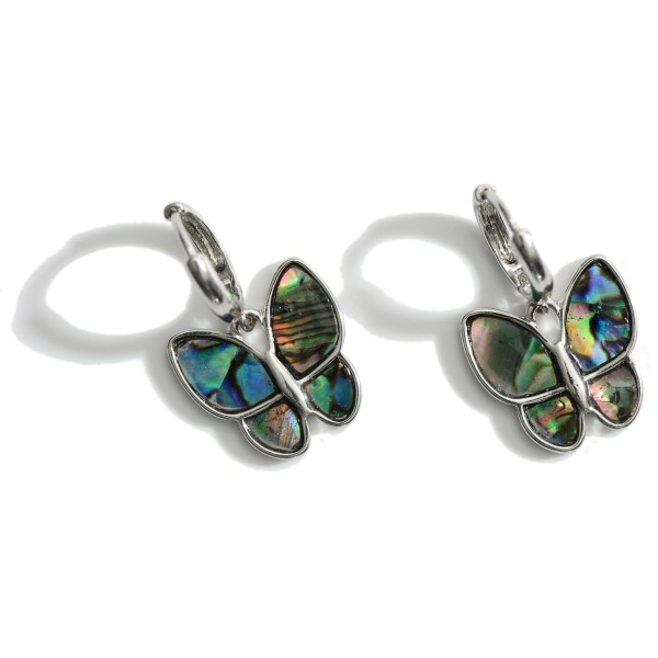 """Small Metal Hoop Earrings Featuring Genuine Abalone Butterfly Pendants.   - Approximately 1"""" in Length"""