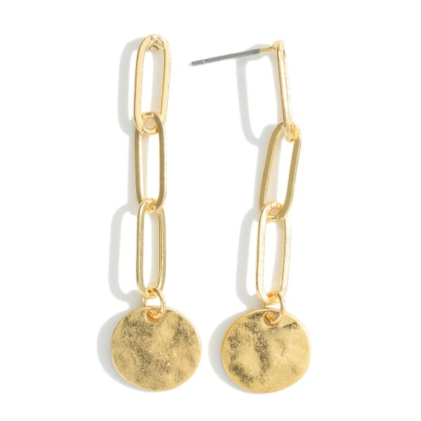 """Metal Chain Earrings Featuring Hammered Disc Pendant.   - Approximately 2"""" in Length"""