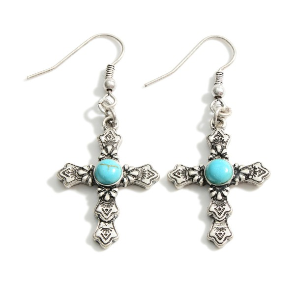 """Silver Cross Earrings Featuring Textured Details and Turquoise Accents.   - Approximately 2"""" in Length"""