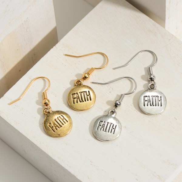 """Faith Coin Hammered Drop Earrings.  - Approximately 1"""" in Length"""