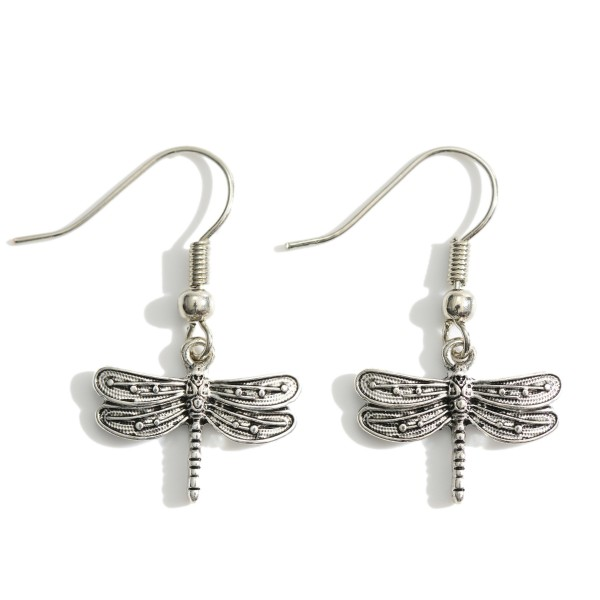 """Metal Dragonfly Drop Earrings Featuring Engraved Details.   - Approximately 1.5"""" in Length"""