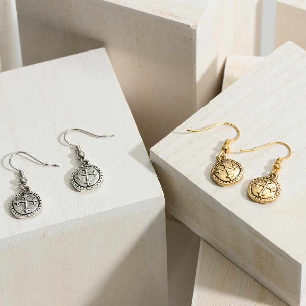 """Metal Drop Earrings Featuring Cross Details.   - Approximately 1"""" in Length"""