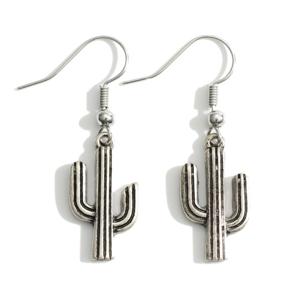 "Metal Cactus Drop Earrings.   - Approximately 1.5"" in Length"