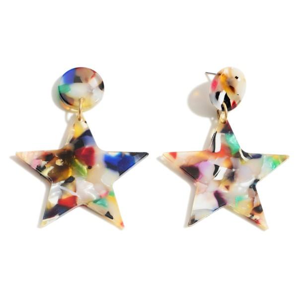 "Resin Star Drop Earrings.   - Approximately 2"" Long"