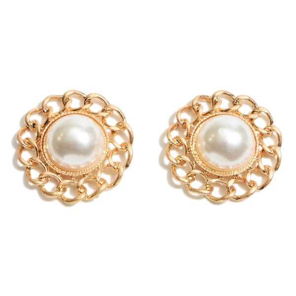 """Faux Pearl Stud Earrings Featuring Metal Chain Accents.   - Approximately 1.5"""" in Diameter"""