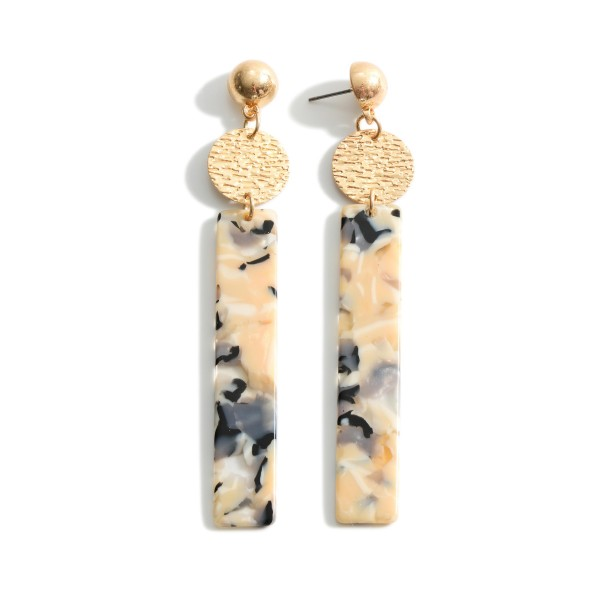 """Resin Drop Earrings Featuring Gold Accents.   - Approximately 3.5"""" Long"""