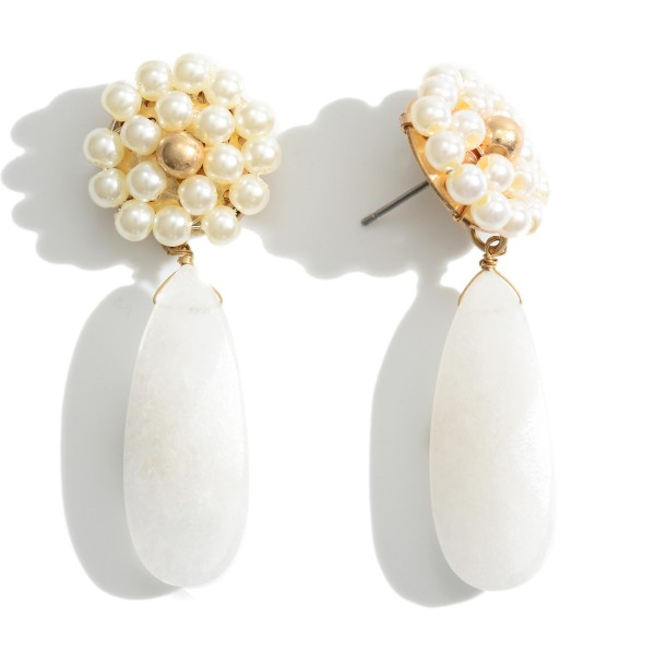 """Natural Stone Drop Earrings Featuring Faux Pearl Accents.   - Approximately 2"""" in Length"""