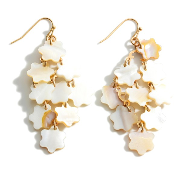 "Drop Earrings Featuring Mother of Pearl Stars.   - Approximately 2.5"" Long"