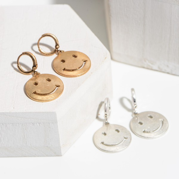 "Worn Metal Smiley Face Drop Earrings.   - Approximately 1.5"" Long"