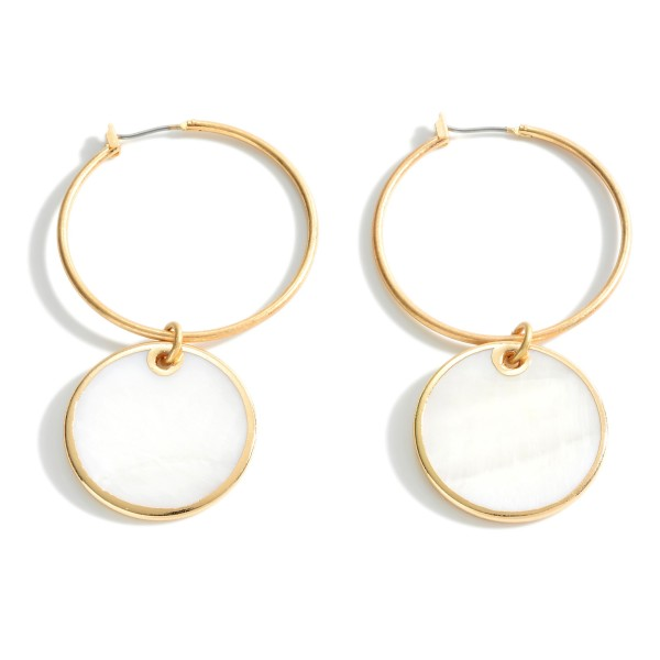 """Metal Hoop Earrings Featuring Mother of Pearl Accents.   - Approximately 2.5"""" Long"""
