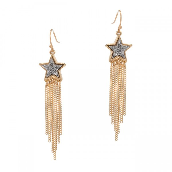 "Druzy Star and Metal Chain Drop Earrings.   - Earrings Measure Approximately 2.5"" in Length"